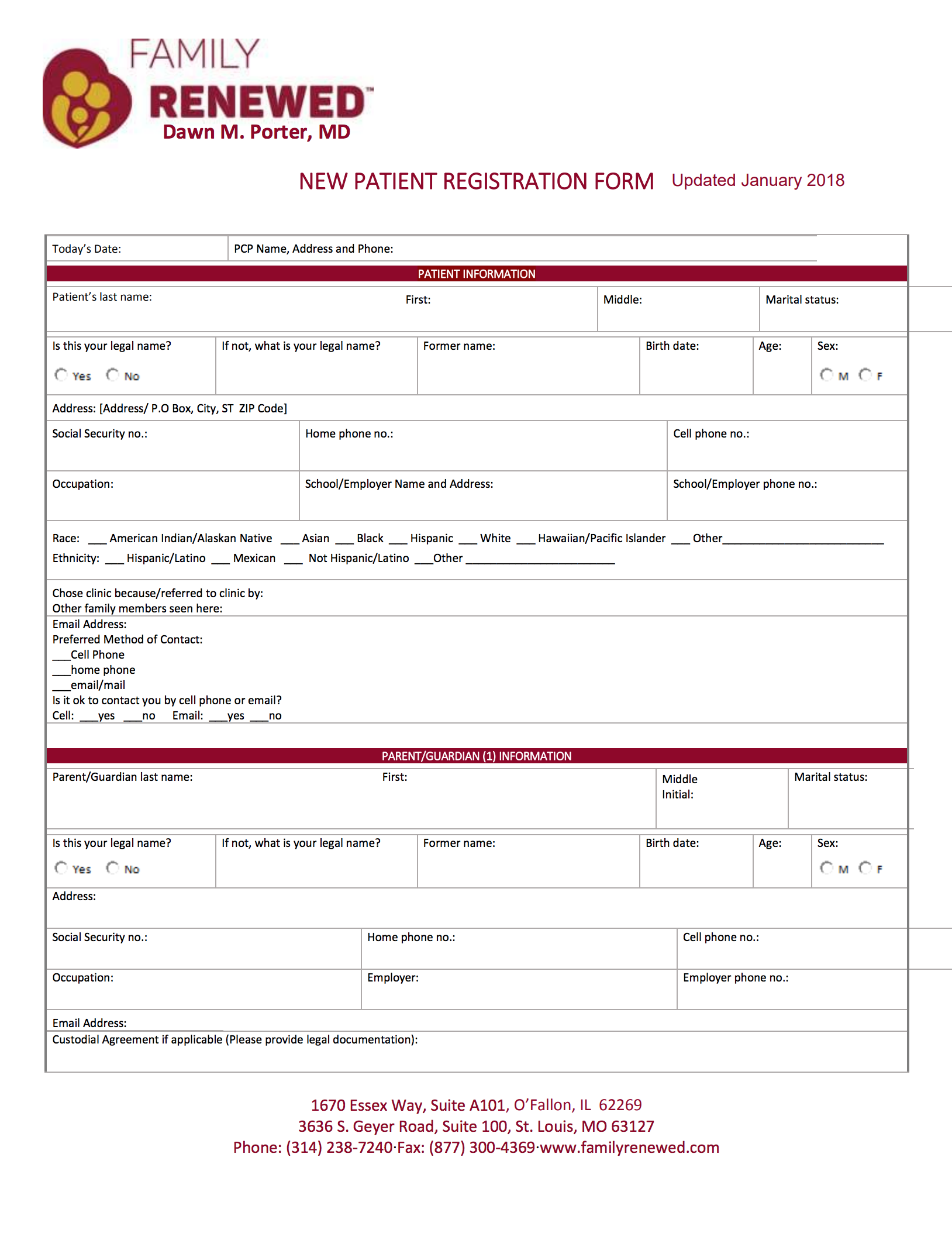 FR New Patient Registration Form 10-28-15